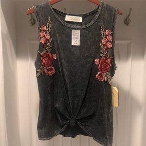 🌟Vintage Havana distressed gray sleeveless shirt